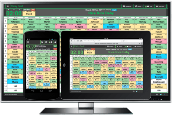 f35413deda2 Clicky Draft is a FREE Online Fantasy Draft Board for live draft parties or  online drafts. You can project the board on a TV and draft from your phone